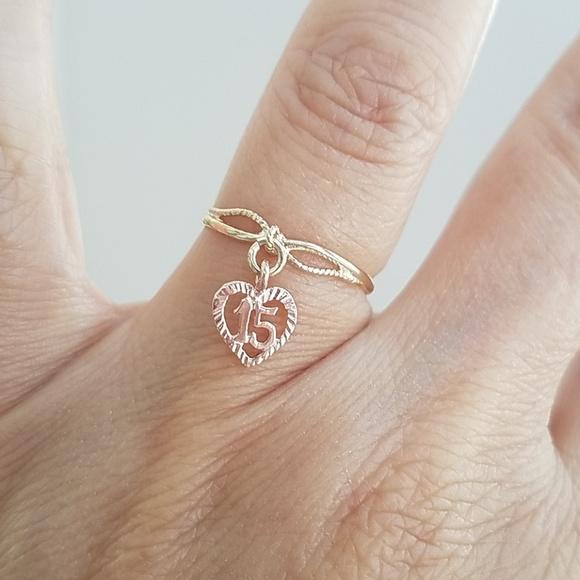 afdbfe2cf80 14k Yellow Rose gold Sweet 15 Ring